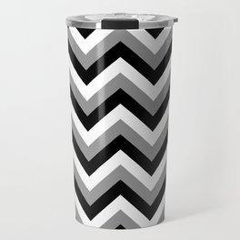 Gray White and Black Chevrons Travel Mug