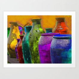 Multi-Colered Mexican Pottery in Mesilla, NM Art Print