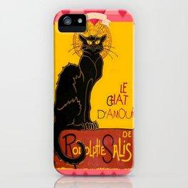 Le Chat Noir D'Amour Heart And Cherub Border iPhone Case