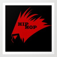 hiphop Art Prints featuring HIPHOP RED  by Robleedesigns