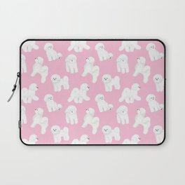 Bichon Frise Pattern (Pink Background) Laptop Sleeve