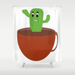 Happy Cactus in A Cup Shower Curtain