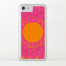 Pink Rose Wreath Clear iPhone Case