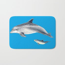 Bottlenose dolphin blue background Bath Mat