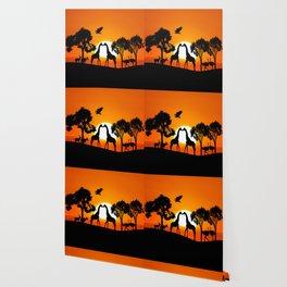 Giraffe silhouettes at sunset Wallpaper
