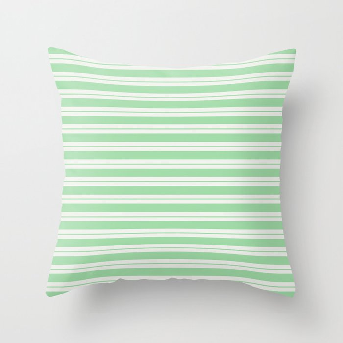 Pastel Green Line Pattern 1 on Linen Off White Pairs to 2020 Color of the Year Neo Mint Throw Pillow