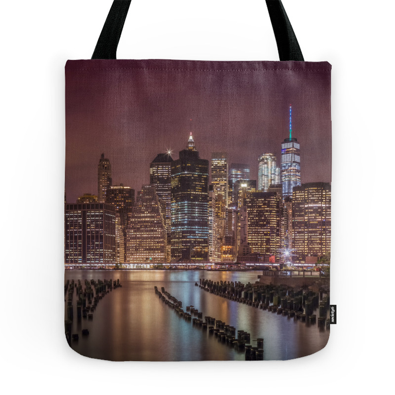 NEW YORK CITY Nightly Impressions Panoramic Tote Purse by melanieviola (TBG7535181) photo