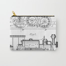Steam Train Patent - Steam Locomotive Art - Black And White Carry-All Pouch