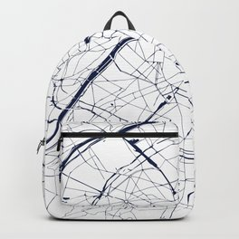 Paris France Minimal Street Map - Navy Blue and White Backpack