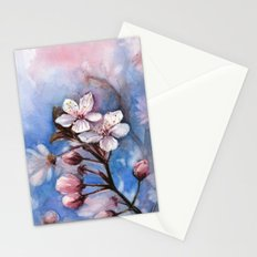 Cherry Blossoms Watercolor Spring Flowers Stationery Cards