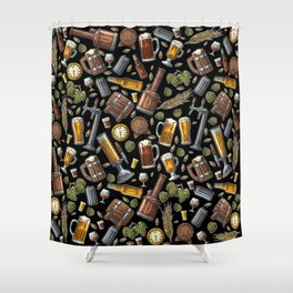 Beer Makes The World Go Round - Black Pattern Shower Curtain