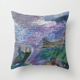 Issaquah Washington...Mixed Media Art by Seattle Artist Mary Klump Throw Pillow