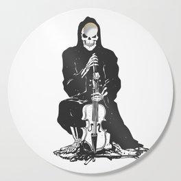 Violinist skull - grim reaper - cartoon skeleton - halloween illustration Cutting Board