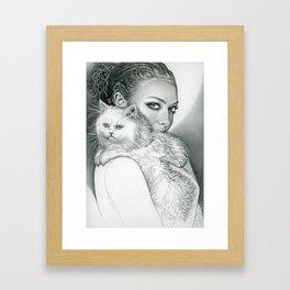 Actress with Cat Framed Art Print