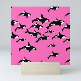 Killer Whales Orca Pod on Hot Pink Pattern Mini Art Print