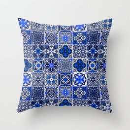 -A34- Blue Traditional Floral Moroccan Tiles. Throw Pillow