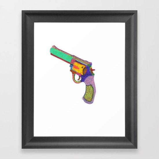gun shoots color Framed Art Print