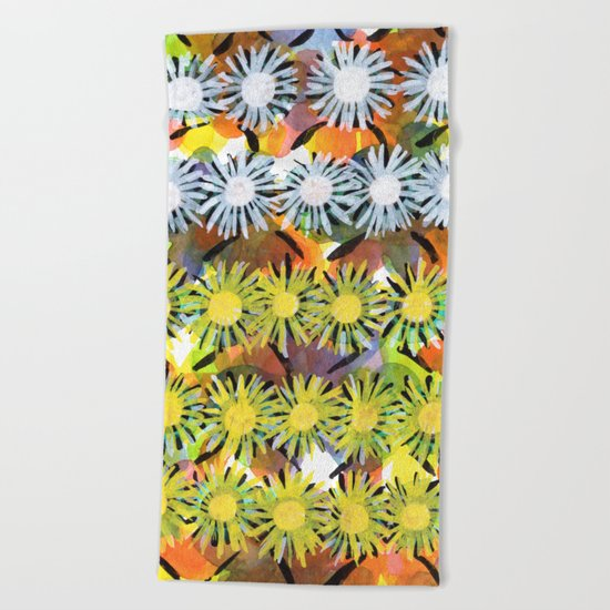 Rainbow Flower Pattern Beach Towel