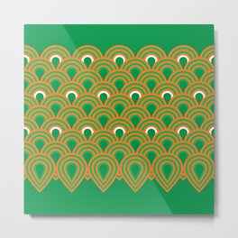 retro sixties inspired fan pattern in green and orange Metal Print