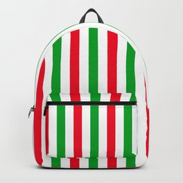 Red, green and white vertical stripes Backpack
