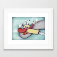 spaceship Framed Art Prints featuring Spaceship by Mowis