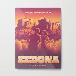 Sedona Grand Canyon Vintage Travel Poster Sunset Hues Silhouette Couple Lovers Metal Print