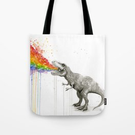T-Rex Dinosaur Rainbow Puke Taste the Rainbow Watercolor Tote Bag