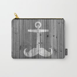 Anchstache   Hipster white distressed mustache anchor on retro gray wood Carry-All Pouch