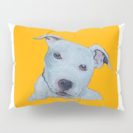 Pit Bull Terrier Puppy Portrait on Gold Pillow Sham