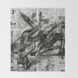 Breaking Loose - Charcoal on Newspaper Figure Drawing Throw Blanket
