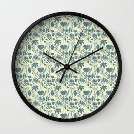 Native Flora On Ecru Pattern Wall Clock