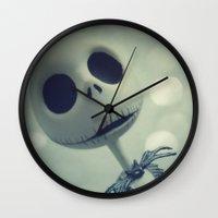 nightmare before christmas Wall Clocks featuring Mr. Jack (Nightmare Before Christmas) by LT-Arts