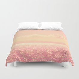 Dreamy Champagne Pink Sparkling Ocean Duvet Cover