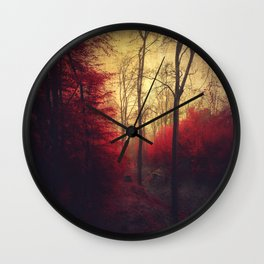 Ruby Red Forest Wall Clock