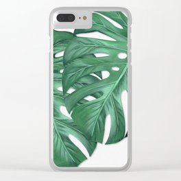 Monstera Tropical Leaf Painting Clear iPhone Case