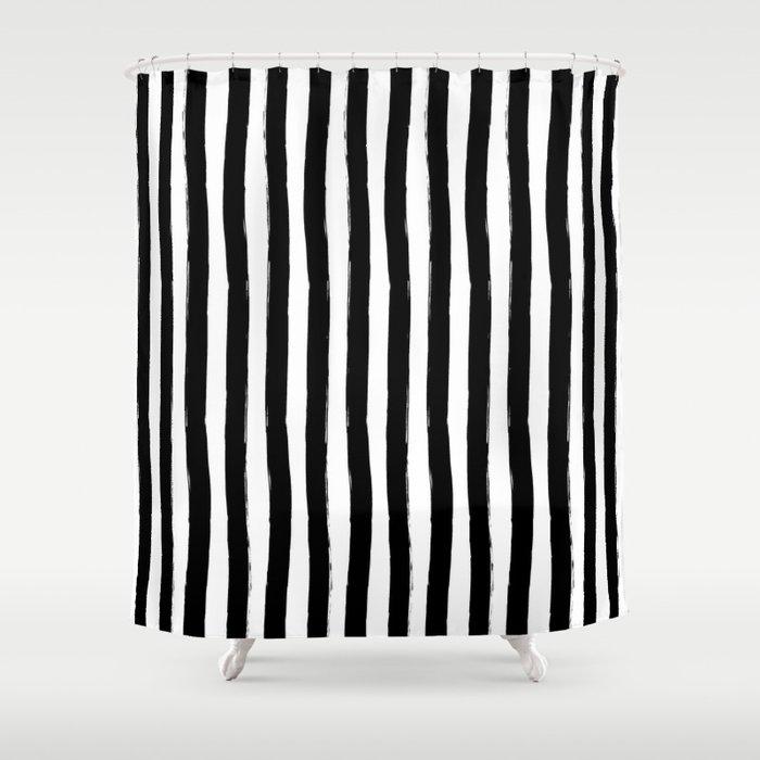 Black and White Cabana Stripes Palm Beach Preppy Shower Curtain by ...