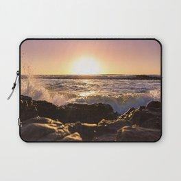 Wave splash against pink sunset - Landscape Photography Laptop Sleeve