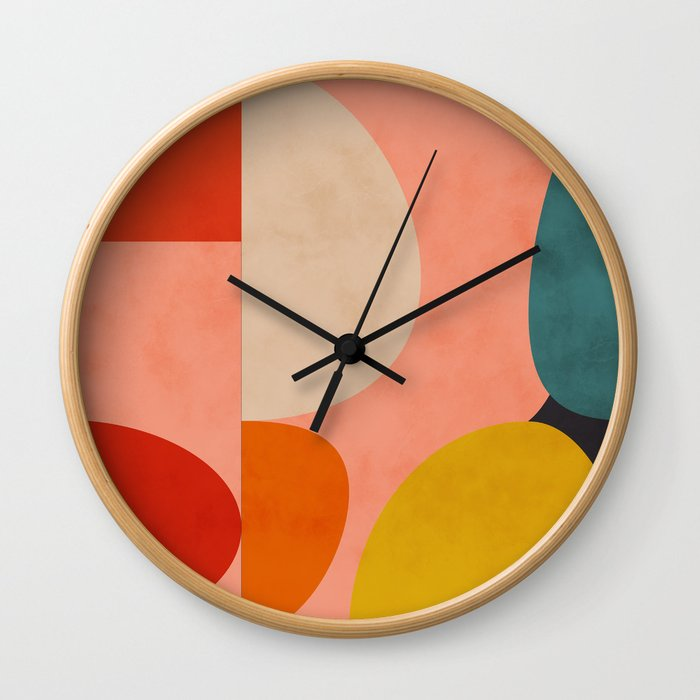 geometry shape mid century organic blush curry teal Wall Clock