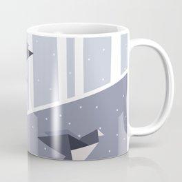 Elegant Origami Birds Abstract Winter Design Coffee Mug