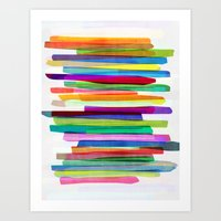 neon Art Prints featuring Colorful Stripes 1 by Mareike Böhmer