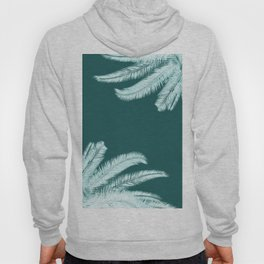 Palm leaves silhouettes on teal Hoody