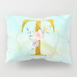 Gold Foil Alphabet Letter T Initials Monogram Frame with a Gold Geometric Wreath Pillow Sham