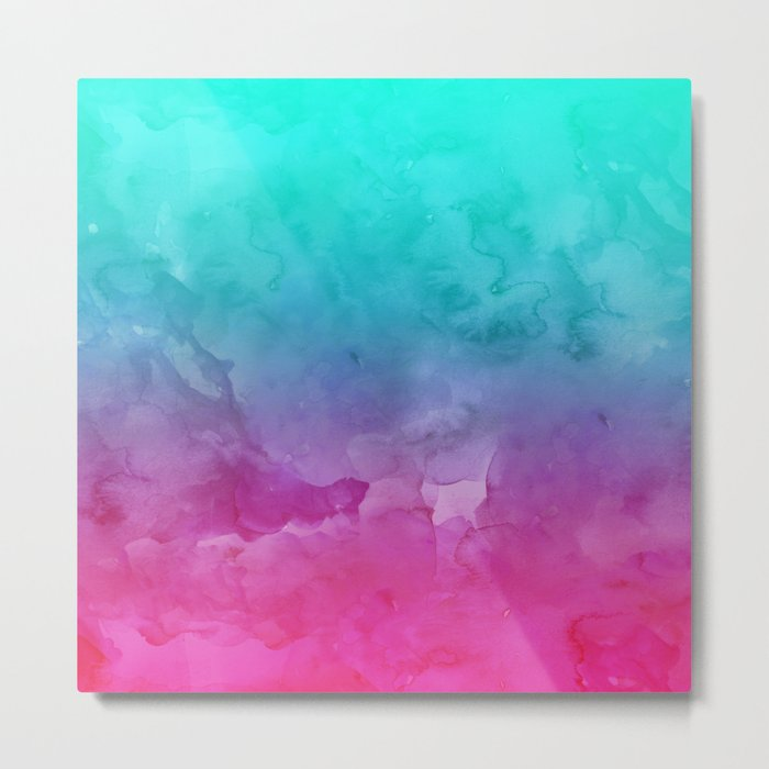 Modern Bright Summer Turquoise Pink Watercolor Ombre Hand