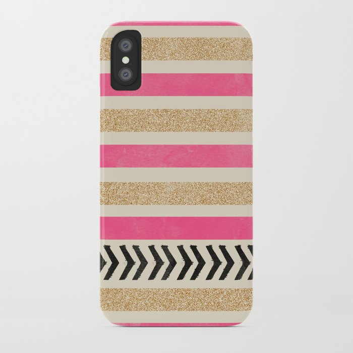 PINK AND GOLD STRIPES AND ARROWS iPhone Case