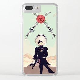 Nier Automata. 2 of Swords Tarot. Clear iPhone Case