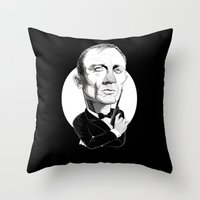 james bond Throw Pillows featuring James Bond by drawgood