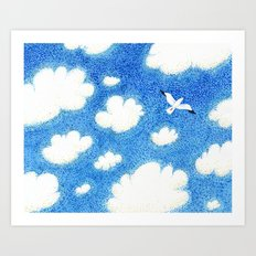 Seagull in the sky Art Print