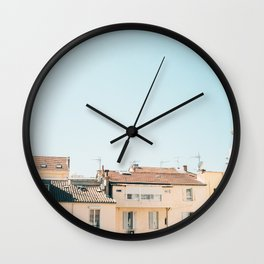 Pretty pretty Cannes | Pastel colored apartment buildings in the South of France Wall Clock