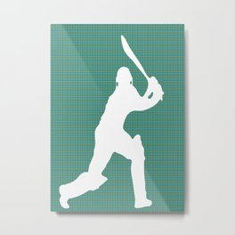 Cricketer Silhouette - Summer game  Metal Print