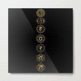 Gold Chakras Metal Print